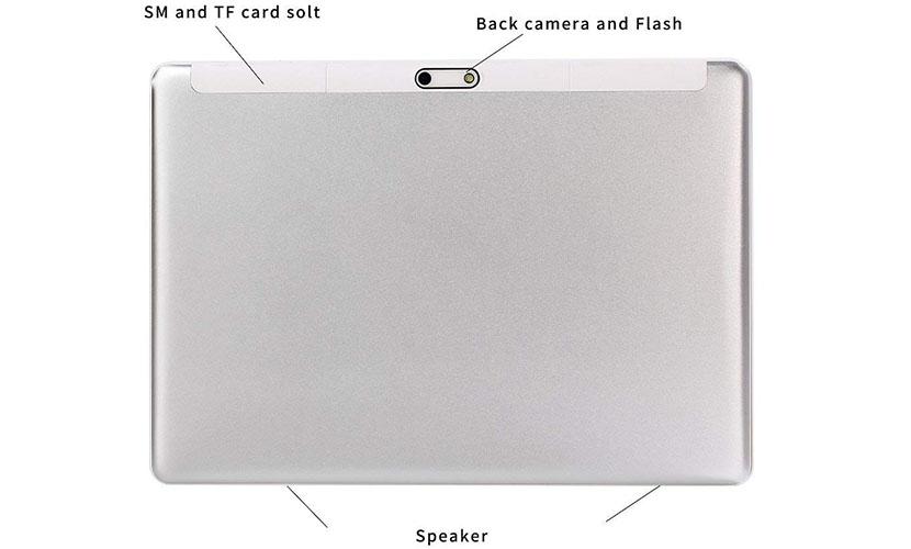 camera, sim slots and speakers