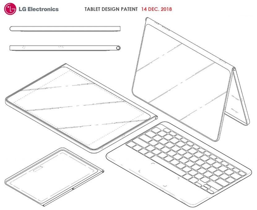 LG tablet design patent dec 2018