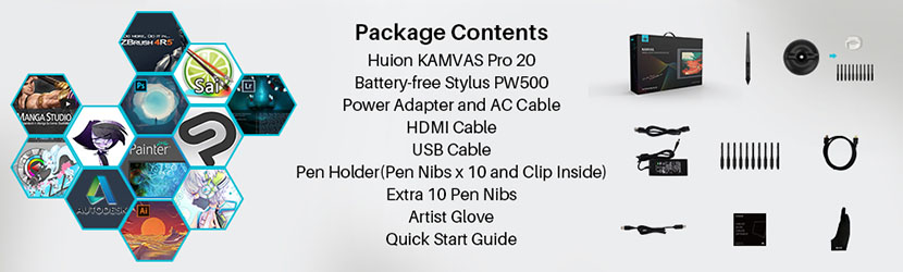 Compatibility and Accessories of Huion KAMVAS Pro 20 GT-192