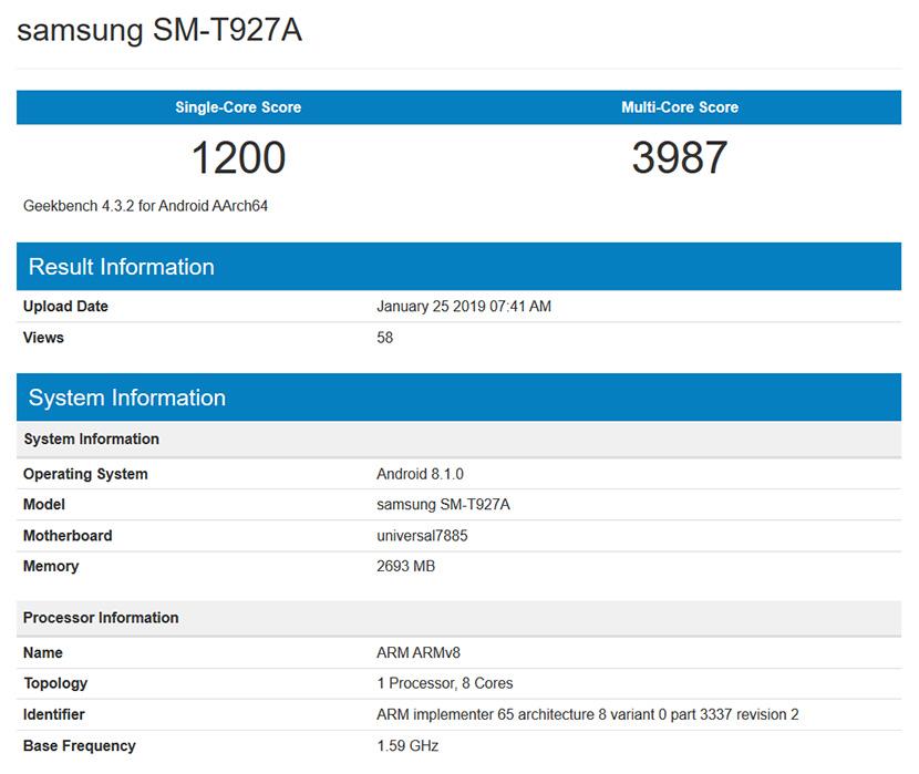 Samsung SM-T927A on Geekbench