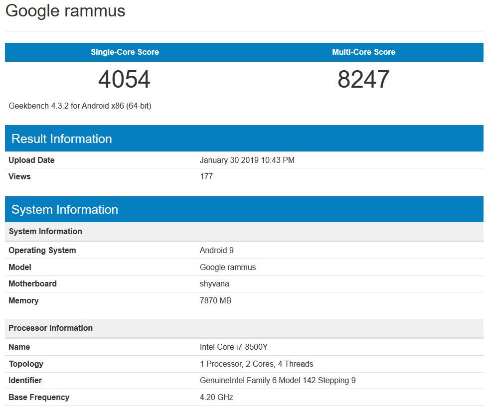 Google rammus Core i7 Geekbench