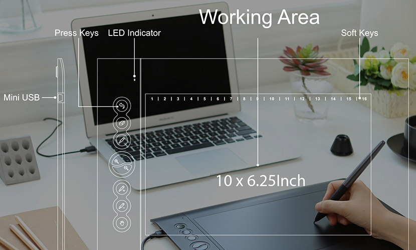 Huion H610PRO V2 has 10x6.25 inch working area
