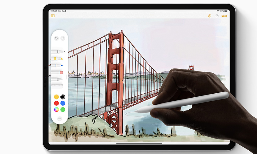 A redesigned tool palette in iPadOS