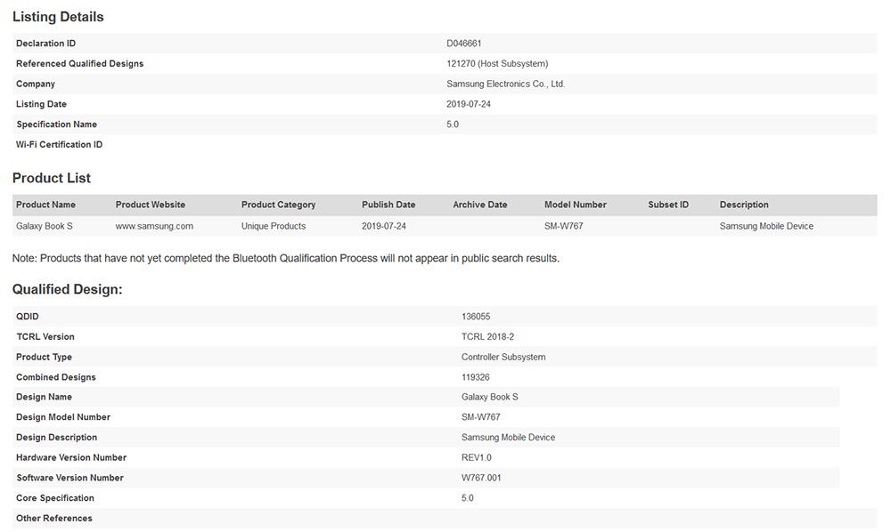 Samsung Galaxy Book S Bluetooth Listing