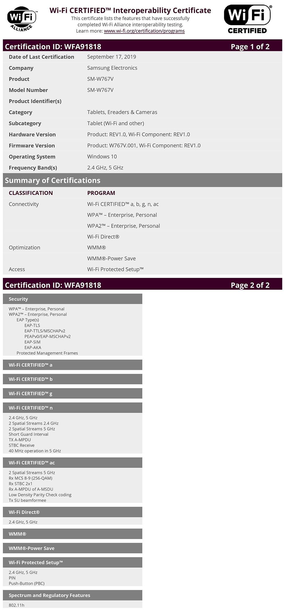 Samsung SM-W767V Wi-Fi Certification