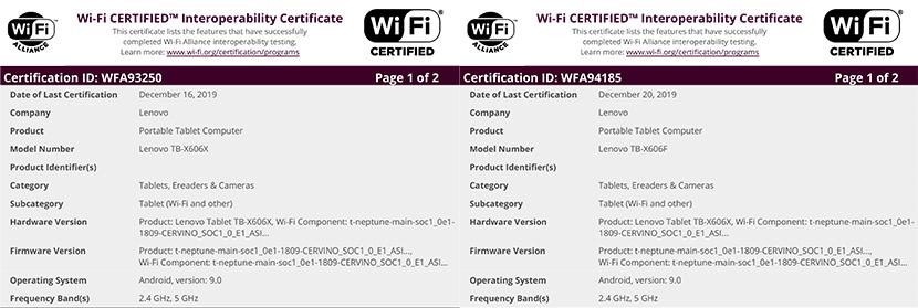 Lenovo TB-X606X and TB-X606F Wi-Fi Certificate