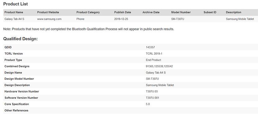 Samsung Galaxy Tab A4 S Bluetooth Listing