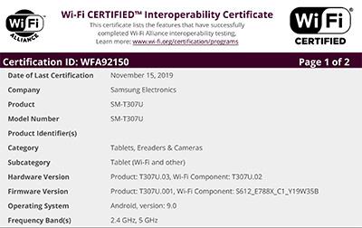 Samsung SM-T307U Wi-Fi Listing