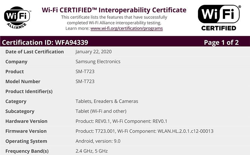 Wi-Fi Certificate WFA94339 (Samsung SM-T723)