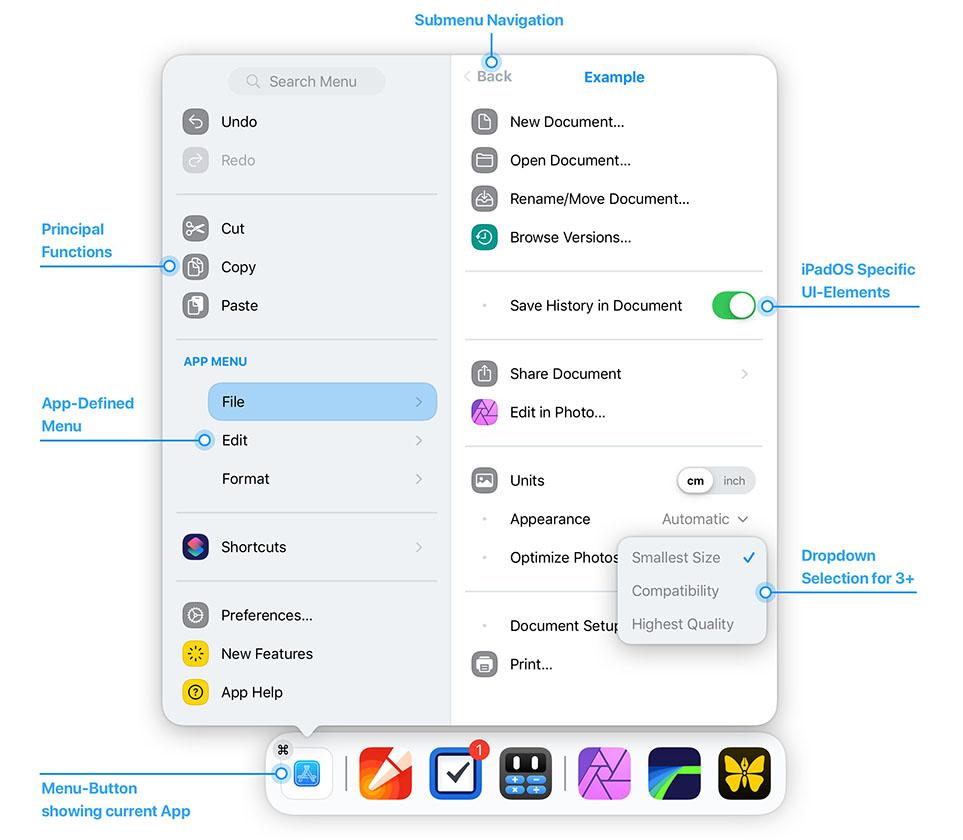 iPadOS Menu Anatomy Concept by Alexander Käßner