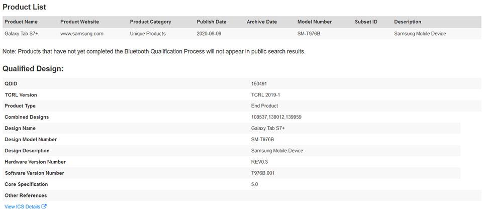 Samsung SM-T976B Bluetooth Listing