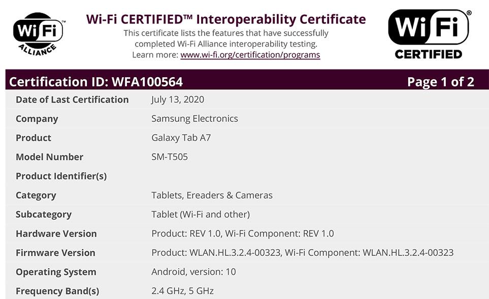 Samsung Galaxy Tab A7 SM-T505 Wi-Fi Certificate WFA100564