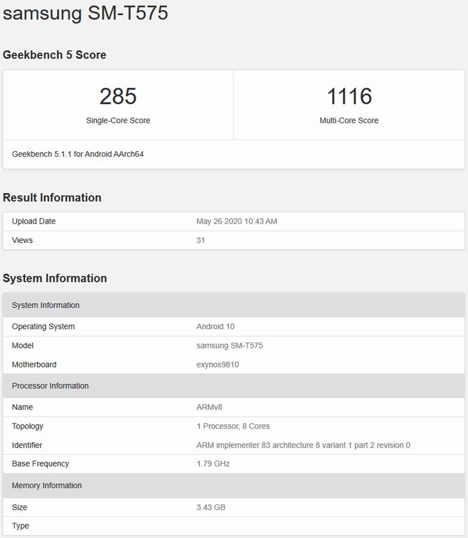 Samsung SM-T575 Geekbench Browser