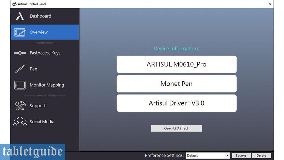 Artisul M0610 Pro Control Panel Overview