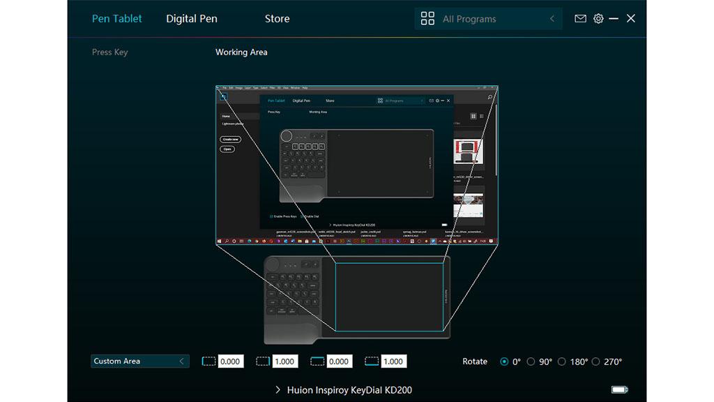 huion inspiroy keydial kd200 working area settings