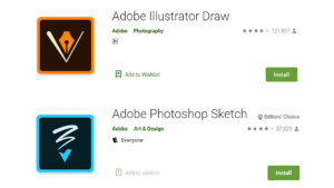 adobe photoshop sketch and illustrator draw on app store