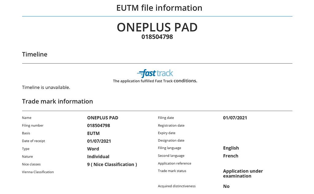 oneplus pad euipo listing